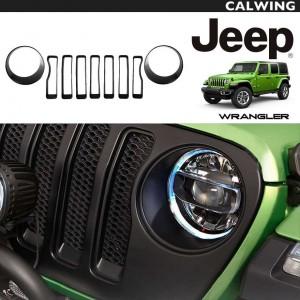 フロント グリル&ヘッドライト インサート カバー トリム 9PC セット グロス ブラック | JEEP/ジープ WRANGLER/ラングラー JL '18y~ 【アメ車パーツ】