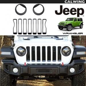 フロント グリル&ヘッドライト インサート カバー トリム 9PC セット アングリータイプ ブラック | JEEP/ジープ WRANGLER/ラングラー JL '18y~ 【アメ車パーツ】