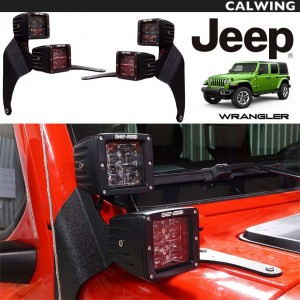 ダブルLEDオフロード ライト ウインドマウントブラケットセット LED ワークライト 4個入1セット | JEEP/ジープ WRANGLER/ラングラー JL '18y~ 【アメ車パーツ】
