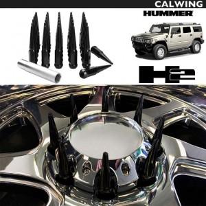 HUMMER/H2 H2T | ワイルドカスタム スパイクナット ホイールナット クローズ 袋タイプ グロスブラック 14×1.5 ロングタイプ ソケット付き 32本セット