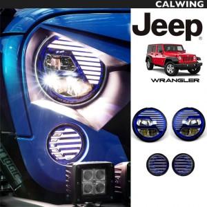 JEEP/ジープ WRANGLER/ラングラー JK '07~'17y | エクストリームスカルデザイン ヘッドライト/パークシグナルランプ お買い得4個セット LEDヘッドライト DRL ブルー 青 カスタムヘッドライト【アメ車パーツ】