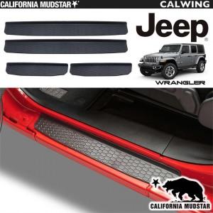 【カリフォルニアマッドスター/CALIFORNIA MUDSTAR★】JEEP/ジープ WRANGLER/ラングラー JL '18y~ | 乗降時にボディを汚れやキズから守る!ドアシルプレート 4ドア用 スカッフプレート 【アメ車パーツ】