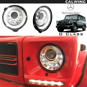 【カスタムヘッドライト】MERCEDES BENZ/メルセデス ベンツ Gクラス W463 '07y~ | ゲレンデ ヘッドライトインナークローム LEDデイライト LEDウインカーシグナル内蔵タイプ 【欧州車パーツ】