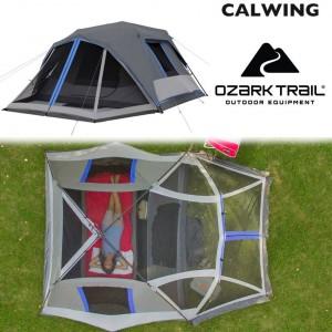 ダークレスト インスタントキャビンテント グレー 6人用 LED照明付き キャンプ 簡単セットアップ OZARK TRAIL【汎用品】