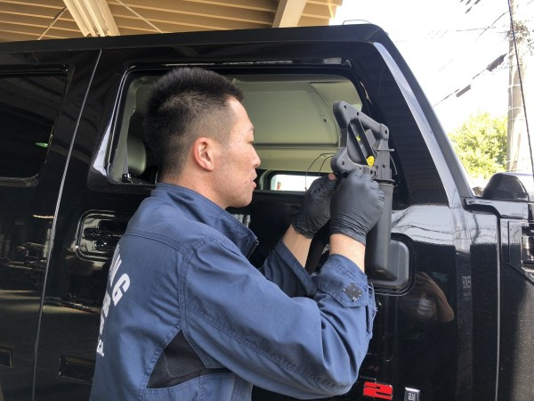 ハマー H2 サイドカメラ調整 車検 点検 整備 ボディコーティング